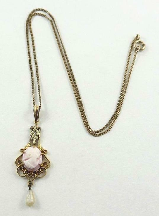 Vintage A.L. Lindroth Gold Filled & Sardonyx Cameo Drop Pendant & Chain 1910-20s