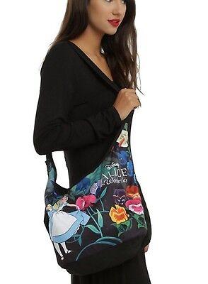 Disney Alice In Wonderland Black Floral Hobo Bag Tote New With Tags!