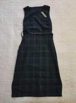 NEW WOMEN'S 2 10T  J CREW BELTED SHEATH DRESS IN BLACK WATCH TARTAN PLAID (Tartan Plaid Dress)