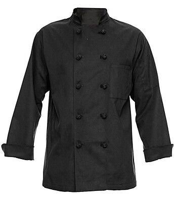 350 Chef Apparel 10 Knot Button Chef Coat-Easy-Care Twill (Black) Medium - NEW