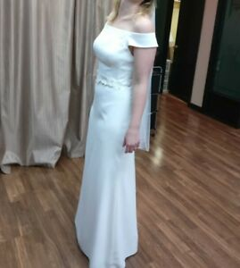 NEVER WORN Off the Shoulder Crepe Wedding/Bridesmaid Dress