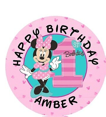 1st Birthday Minnie Mouse (108 Minnie Mouse 1st First Birthday Fun To Be One Kiss Label Sticker)