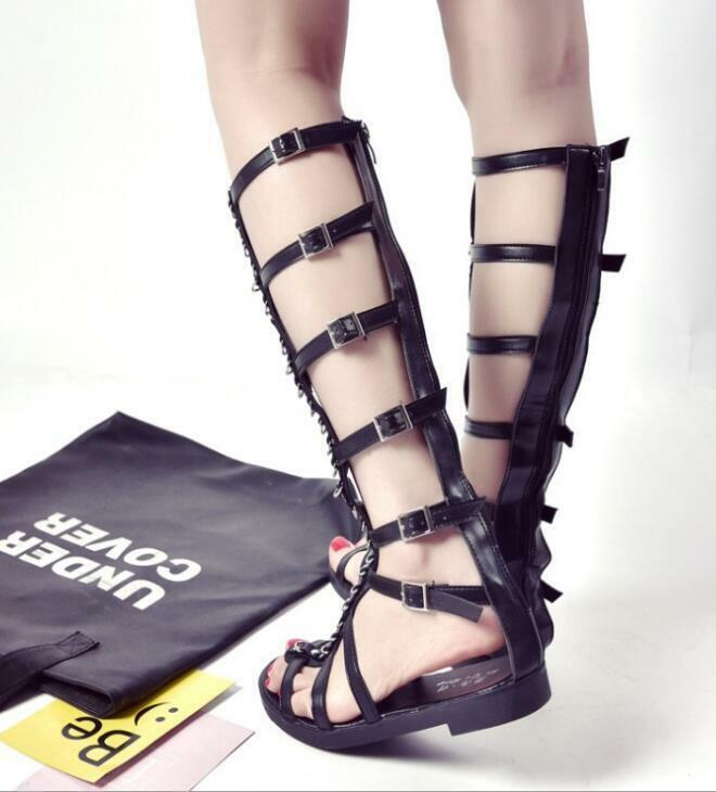 a6534a449b Women Strappy Gladiator Sandals Knee High Zipper Shoes Open Toe Buckle Flat  Boot Clothing, ...