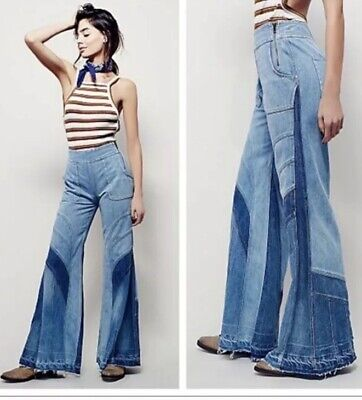 NWT Free People Tidal Wave Hi Rise Patchwork Bell Bottom Festival Flare Jeans 28