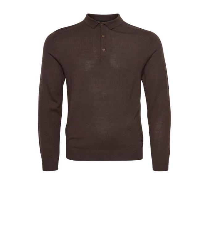 Matinique KLINT Wool Long Sleeve Polo/Mulch - XXL SRP £89.95