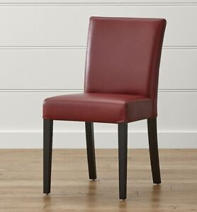 (2) Crate and Barrel Lowe Red Leather Dining Chair