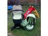 Obaby chase zigzag lime green complete travel system