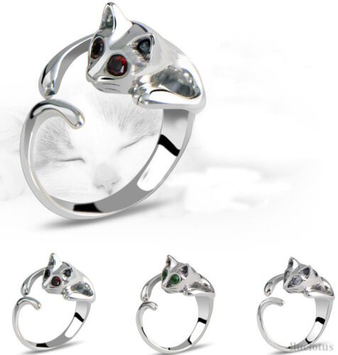 Cute-Silver-Animal-Cat-Shaped-Adjustable-Ring-With-Rhinestone-Eyes-Resizeable