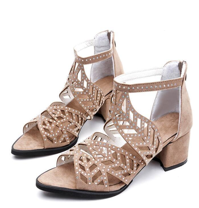 Details about Women Peep Toe Block Heel Sandals Hollow Out Casual Gladiator Shoes Back Zipper
