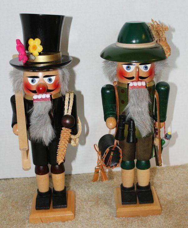 """Pair Large Vintage Steinbach Nutcrackers Chimney Sweep Hunter Gamekeeper 15"""""""