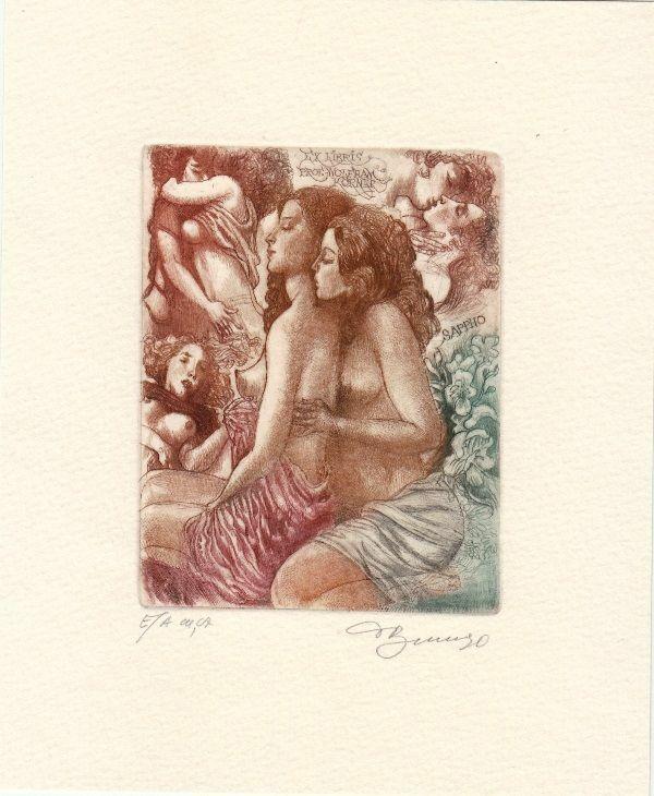 Exlibris Bookplate Etching David Bekker Female Nudes Sappho