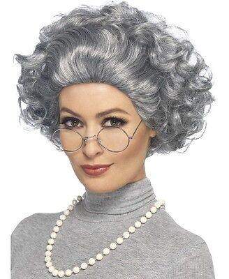 Erwachsene Oma Kostüm Set Alt Damen Satz Perücke,Brillen & Perlen von Smiffys (Alte Dame Kostüm Brille)