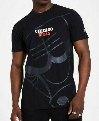 NEW ERA MENS CHICAGO BULLS T SHIRT.NBA GRAPHIC BLACK COTTON SHORT SLEEVE TOP S20
