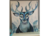 Blue stag painting on canvas