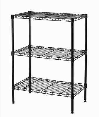 New Wire Shelving Cart Unit 3 Shelves Shelf Rack Black T53 Layer Tier