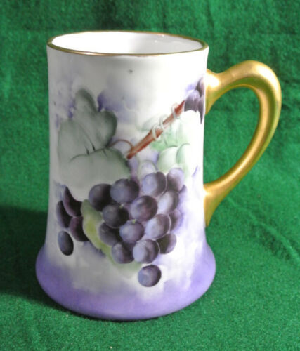 P and P Limoges France Hand Painted Mug GRAPES artist signed H. Wolley 1915
