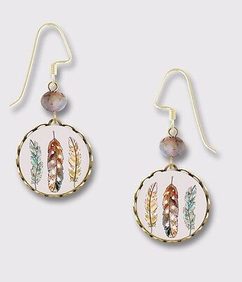 Lemon Tree FEATHERS in Brass Round Lace EARRINGS Dangle USA + Gift Boxed Painted Lace Earrings