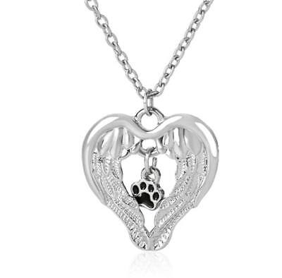 NEW Pet Memorial Angel Wings Paw Print Pendant Necklace Cat Dog UK