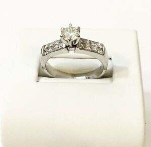 14K WHITE GOLD CUSTOM DIAMOND ENGAGEMENT RING Appraised - $5,400