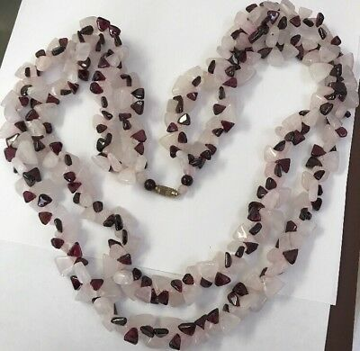 Chinese Heavy Double Strand Triangle Rose Quartz Raspberry Garnet Bead Necklace