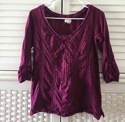 Anthropologie Meadow Rue Red Burgundy 3 4 Sleeve Top Shirt Size Small Blouse
