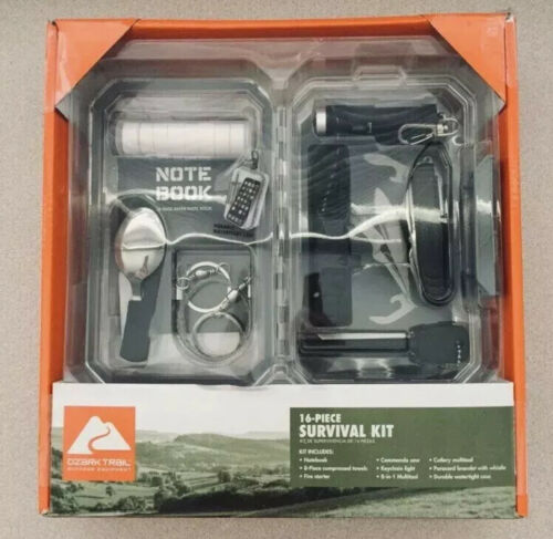 New Sealed OZARK TRAIL 16 Piece Survival Kit for Car Camping