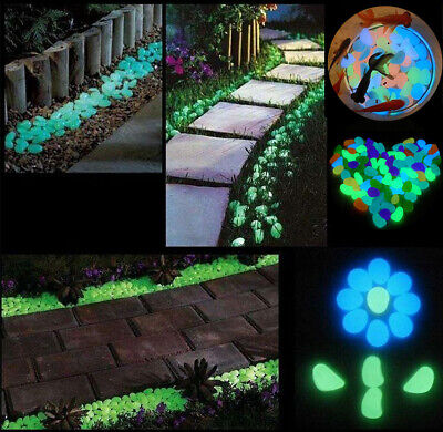 100pcs Glow in the dark Pebbles Stones Fish Tank Garden Aquarium Walkway Decor