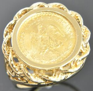 CLEARANCE-1945-Mexico-Dos-2-Pesos-22K-Coin-14K-Yellow-Gold-Bezel-Filigree-Ring