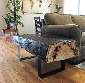 "48 X 18"" Rustic Reclaimed Barn Beam Bench on Iron Legs"