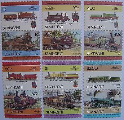 1985 ST VINCENT Set #4 Train Locomotive Railway Stamps (Leaders of the World)