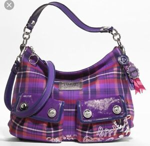COACH POPPY BAG PURPLE & PINK PLAID NEVER USED $80