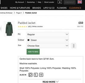 Green padded jacket- Next. Size 10. BNWT