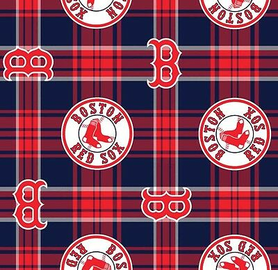 - Boston Red Sox Plaid MLB Baseball Team Print Fleece Fabric by the Yard s6602bf