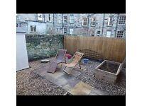 Two Habitat wooden garden chairs