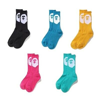 A BATHING APE Goods Men's BIG APE HEAD SOCKS 5colors New