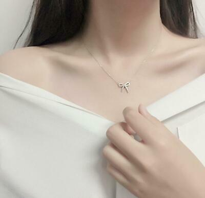 Pave Cubic Zirconia 925 Sterling Silver Bow Knot Pendant Choker Necklace