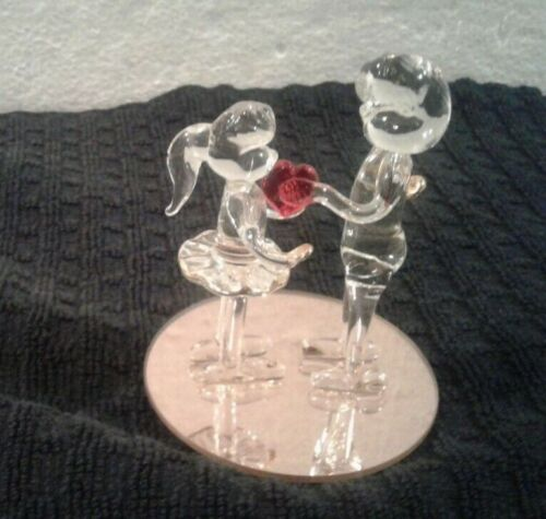 "Dura Best Spun Glass ""WILL YOU BE MY VALENTINE"" Lovers figurine mirror stand NEW"