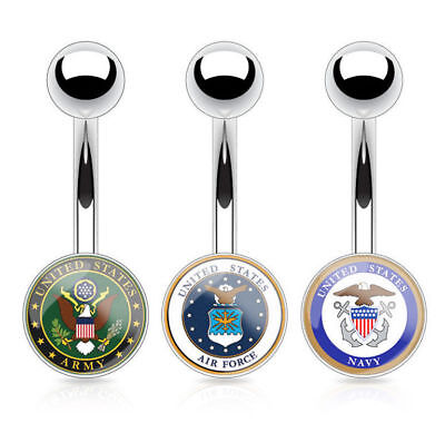 US Military Logo Belly Ring Army, Navy, Air Force Navel Belly Button Piercing