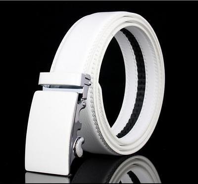 Mens White Genuine Leather Belt Waistband Strap Automatic Buckle Wedding (Genuine Leather White Belt)