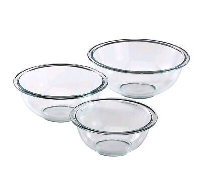 Pyrex Glass Mixing Bowl Set (3 Piece) Serving Nesting Kitchen Cooking Baking NEW