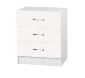 New White High Gloss Chest of 3 Drawers