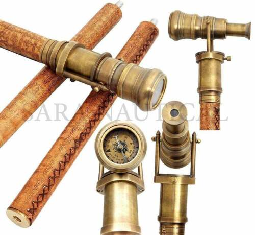 Brass Telescope Head Handle Vintage Wooden Leather Cane Walking Stick Gift