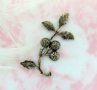 Brass Woodland Leaf - ANTIQUE BRASS Woodland Leaf & Berries Branch Spray Stamping ~ Jewelry (E-2646)