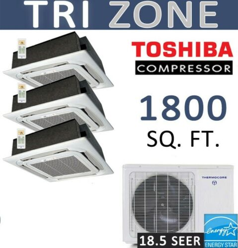 Tri Ductless Mini Split Air Conditioner Heat Pump: 12000 X 3 Ceiling Cassettes
