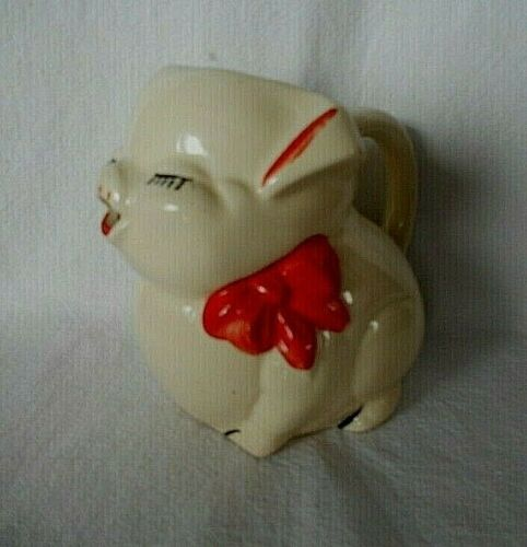 Vintage American Bisque Pottery Little Pig Piggy Red Bow Creamer / Pitcher