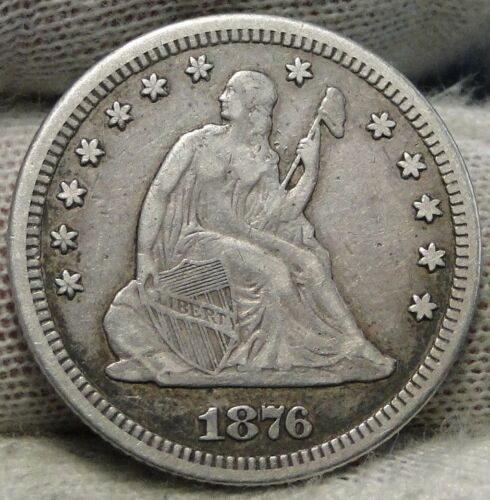 1876-CC 25C Liberty Seated Quarter, Nice Coin, Free Shipping (7137)