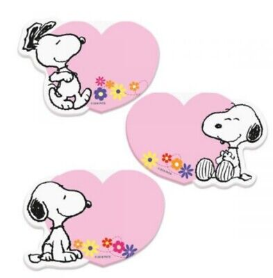 Peanuts Snoopy Character Pink Heart Shaped Sticky Note Pads, Set of (Heart Shaped Sticky Notepad)