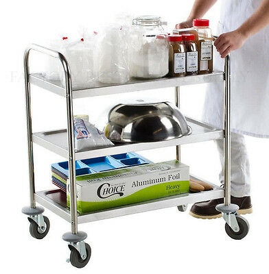 16 X 28 Commercial Stainless Steel 3 Shelf Utility Kitchen Office Hotel Cart