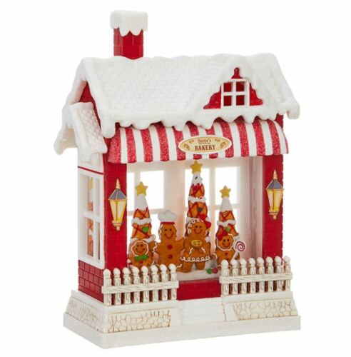 Santa Gingerbread Family Lighted Water House 10 inch Acrylic Decorative 3900792
