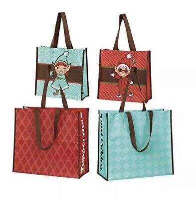 NEW Tupperware Lot 4 TupperElf Holiday Shopping Tote Bags Durable Eco Gift Bags